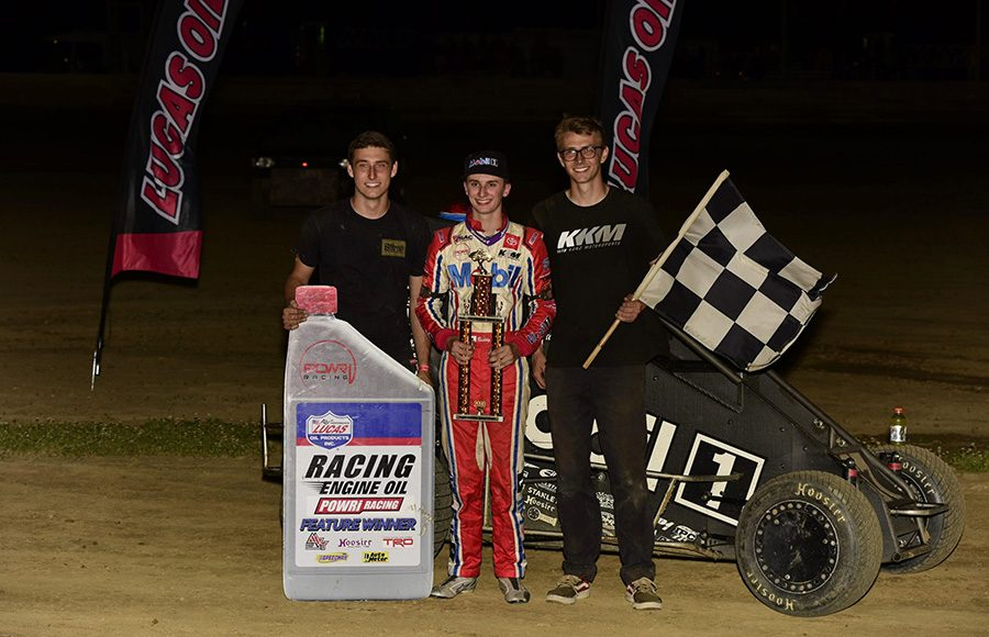 Buddy Kofoid poses in victory lane after winning Friday's POWRi Lucas Oil National Midget League event at Charleston Speedway. (Mark Funderburk Photo)