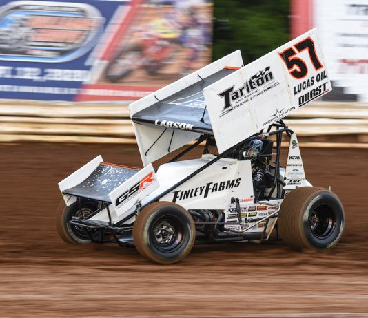 Kyle Larson, shown at Williams Grove Speedway, won Tuesday's Pennsylvania Speedweek feature at Grandview Speedway. (Dan Demarco photo)