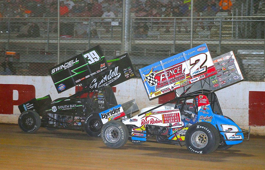 Sammy Swindell (39) battles A.J. Flick during Wednesday's Pennsylvania Speedweek feature at Port Royal Speedway. (Dan Demarco Photo)