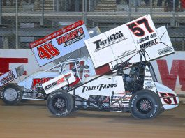 Danny Dietrich (48) battles Kyle Larson during Wednesday's Pennsylvania Speedweek feature at Port Royal Speedway. (Dan Demarco Photo)