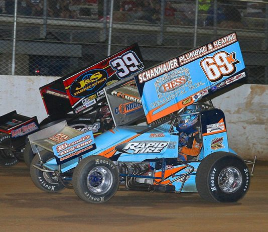 Lance Dewease (69k) races alongside Anthony Macri during Wednesday's Pennsylvania Speedweek feature at Port Royal Speedway. (Dan Demarco Photo)