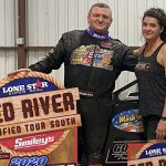William Gould saw his Red River Tour luck change with the $1,000 IMCA Modified win Wednesday night at Southern Oklahoma Speedway. (Photo by Stacy Kolar, Southern Sass Photography)