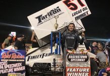 Kyle Larson in victory lane at Hagerstown Speedway. (Kyle McFadden photo)