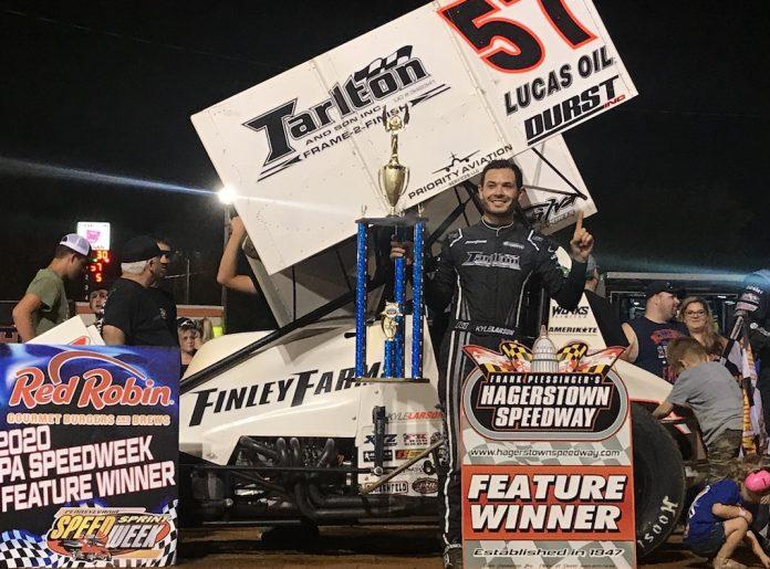 Kyle Larson in victory lane at Hagerstown Speedway. (Kyle McFadden photo)