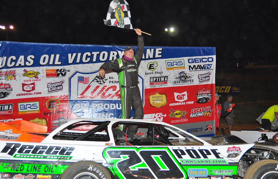 Jimmy Owens celebrates after winning Friday's Lucas Oil Late Model Dirt Series feature at 411 Motor Speedway. (MIchael Moats Photo)