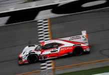 Juan Pablo Montoya put his Team Penske Acura on the top of the practice charts Friday at Daytona Int'l Speedway. (IMSA Photo)