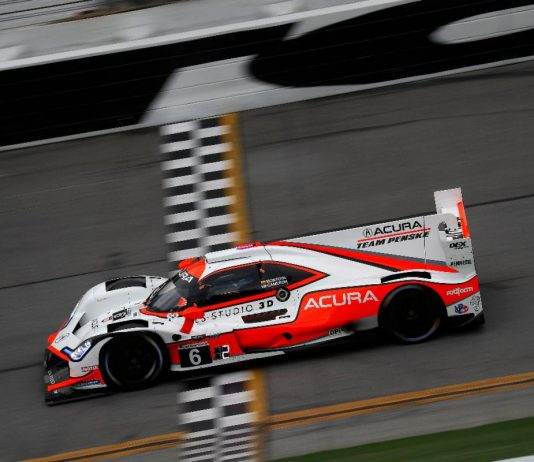 Juan Pablo Montoya put his Team Penske Acura on the top of the practice charts Friday at Daytona Int'l Speedway. (IMSA Photo)