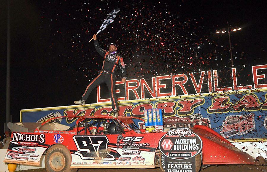 Cade Dillard celebrates after winning the Firecracker 100 Saturday at Lernerville Speedway. (Hein Brothers Photo)