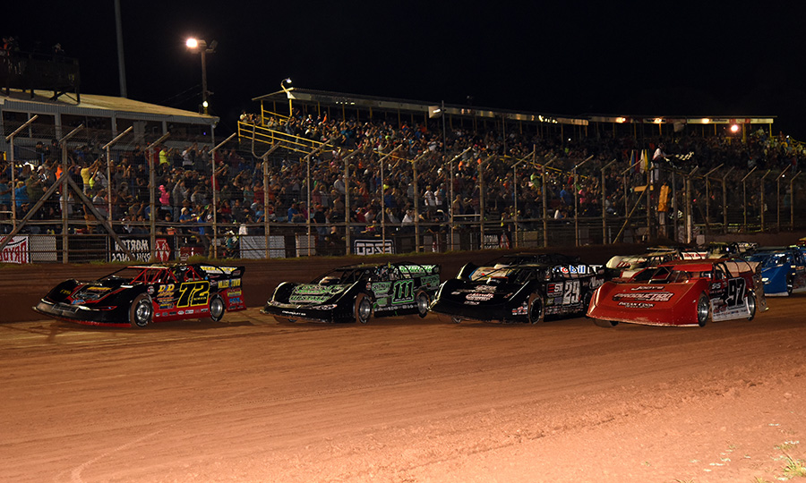 The World of Outlaws Morton Buildings Late Model Series field prepares to go racing prior to the Firecracker 100 finale Saturday at Lernerville Speedway. (Paul Arch Photo)
