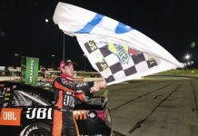 Chandler Smith celebrates after winning Friday's ARCA Menards Series event at Lucas Oil Raceway. (A.J. Mast/ARCA Photo)