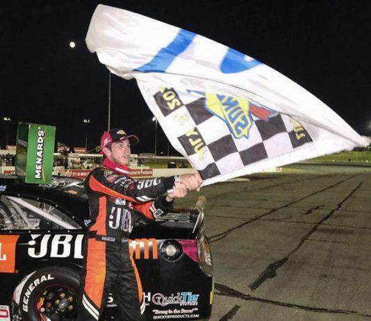 Chandler Smith celebrates after winning Friday's ARCA Menards Series event at Lucas Oil Raceway. (A.J. Mast/ARCA Photo)
