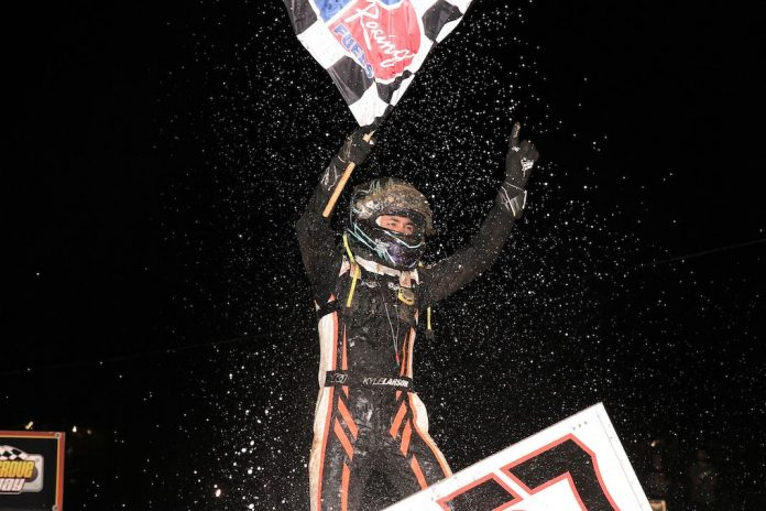 Kyle Larson celebrates his first Williams Grove Speedway victory. (Dan Demarco photo)