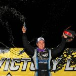 Bobby Pierce celebrates after winning Friday's Lucas Oil MLRA Slocum 50 at 34 Raceway. (Mike Ruefer Photo)