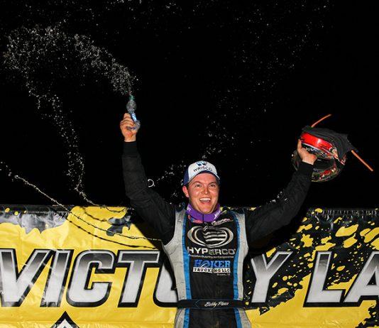 Bobby Pierce celebrates after winning Friday's Lucas Oil MLRA Slocum 50 at 34 Raceway. (Mike Ruefer Photo)