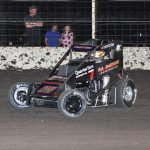 Cannon McIntosh on his way to victory Friday night at Airport Raceway. (Don Holbrook Photo)