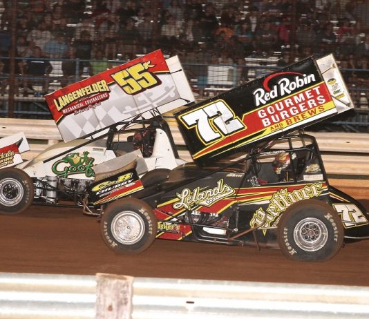 Robbie Kendall (55k) races with Ryan Smith during round eight of Pennsylvania Speedweek Friday at Williams Grove Speedway. (Dan Demarco photo)