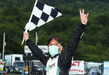 Justin Bonsignore celebrates after winning Saturday's NASCAR Whelen Modified Tour event at White Mountain Motorsports Park. (Adam Glanzman/NASCAR Photo)