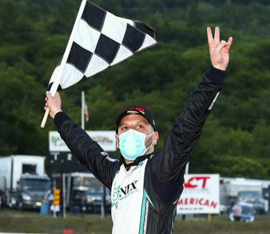 Justin Bonsignore celebrates after winning Saturday's NASCAR Whelen Modified Tour event at White Mountain Motorsports Park. (Adam Glanzman/NASCAR Photo)