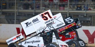 Kyle Larson (57) races under Brent Marks at Port Royal Speedway. (Dan Demarco photo)