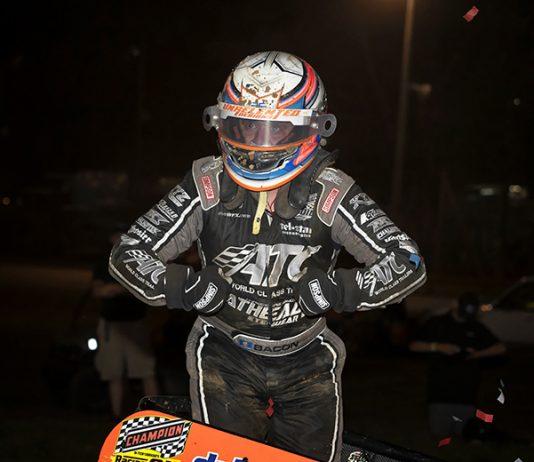 Brady Bacon celebrates after winning the Bill Gardner Sprintacular finale on Saturday at Lincoln Park Speedway. (Eli Kaikko Photo)