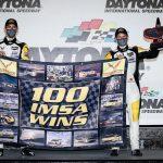 Corvette Racing drivers Antonio Garcia and Jordan Taylor gave the team its 100th victory in IMSA competition on Saturday at Daytona Int'l Speedway. (IMSA Photo)