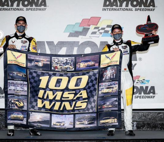 Corvette Racing drivers Antonio Garcia and Jordan Taylor gave the team its 100th victory in IMSA competition on Saturday at Daytona Int'l Speedway. (IMSA Photo)