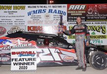 Nick Allen poses in victory lane Saturday at Shadyhill Speedway. (Gary Gasper Photo)