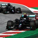 Valtteri Bottas (77) leads teammate Lewis Hamilton during Sunday's Austrian Grand Prix. (LAT Images Photo)