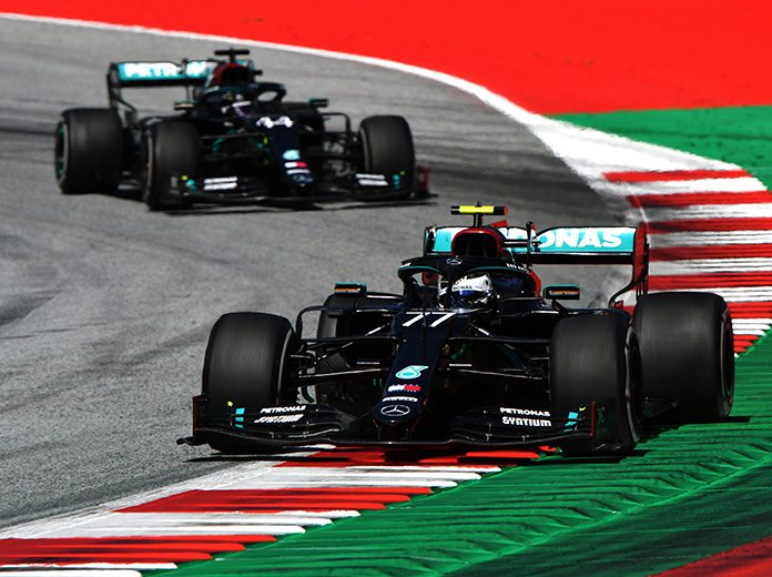 Valtteri Bottas (77) leads teammate Lewis Hamilton during Sunday's Austrian Grand Prix. (LAT Images Photo)