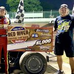 Continuing to improve every night out, Cody Leonard won the IMCA Modified Red River South Tour feature Saturday at Kennedale Speedway Park. (Stacy Kolar Photo)