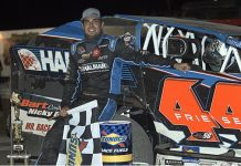 Stewart Friesen in victory lane Saturday at Fonda Speedway. (Dave Dalesandro Photo)