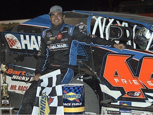 Stewart Friesen in victory lane Saturday at Fonda Speedway. (Dave Dalesandro Photo)