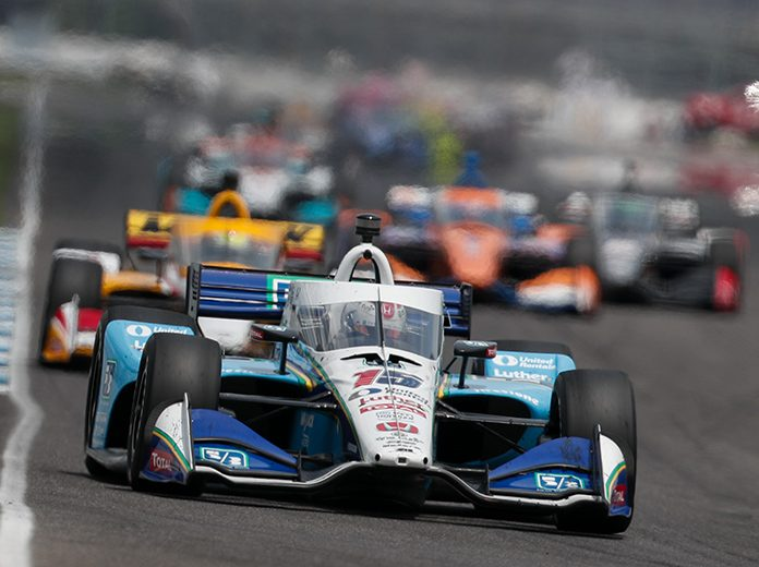 The doubleheader featuring the NTT IndyCar Series and NASCAR Xfinity Series at Indianapolis Motor Speedway drew strong ratings numbers. (IndyCar Photo)