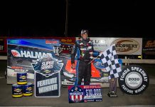 Stewart Friesen in victory lane on Sunday at Fonda Speedway after the Firecracker 50. (Dylan Friebel Photo)