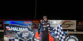 Stewart Friesen in victory lane on Sunday at Fonda Speedway after the Firecracker 50. (Dylan Friebel Photo)