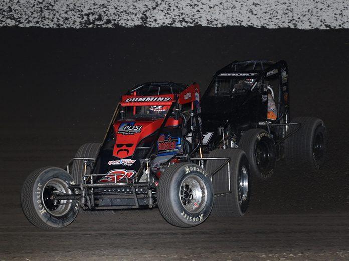 Kyle Cummins (3R) battles Carson Short during Sunday's Midwest Sprint Car Series feature at Tri-State Speedway. (Neil Cavanah Photo)