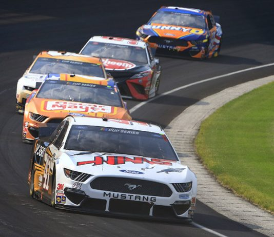 Cole Custer (41) earned the first top-five finish of his NASCAR Cup Series career on Sunday afternoon at Indianapolis Motor Speedway. (HHP/Jim Fluharty Photo)