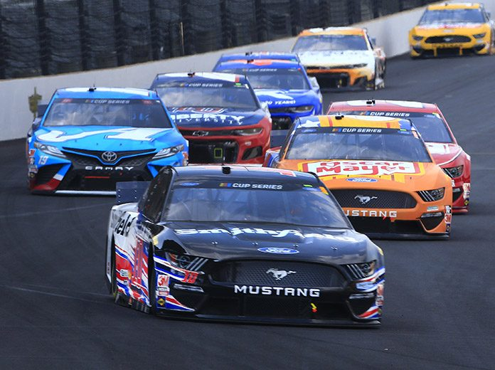 Aric Almirola was one of three Stewart-Haas Racing drivers to finish in the top-five during Sunday's Big Machine Hand Sanitizer 400 at Indianapolis Motor Speedway. (HHP/Jim Fluharty Photo)