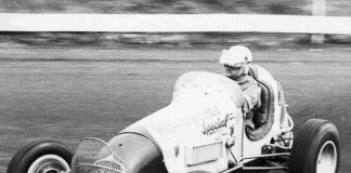 Tommy Hinnershitz in 1954 at Reading Fairgrounds Speedway.