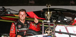 Craig Lutz in victory lane Sunday at Monadnock Speedway. (Dick Ayers Photo)