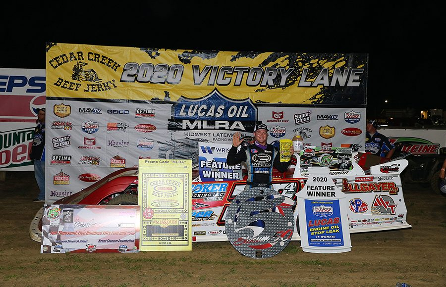Bobby Pierce poses in victory lane after winning the Lucas Oil MLRA Slocum 50 Friday at 34 Raceway. (Mike Ruefer Photo)
