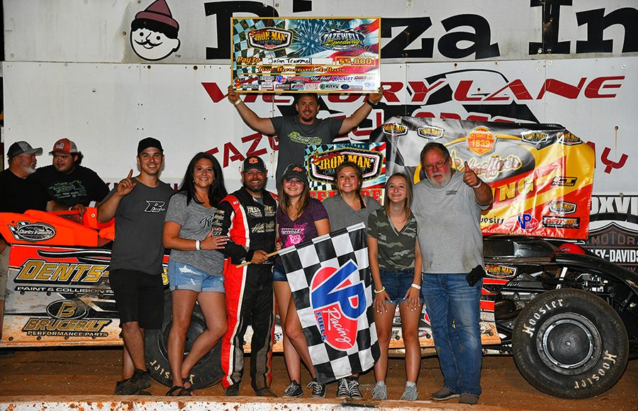 Jason Trammell celebrates in victory lane with his crew after winning Friday's Schaeffer's Oil Iron-Man Championship Late Model Series event at Tazwell Speedway. (Michael Moats Photo)