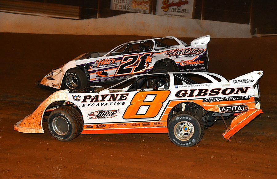 David Payne (8) and Dakotah Knuckles battle for position during Friday's Schaeffer's Oil Iron-Man Championship Late Model Series event at Tazewell Speedway. (Michael Moats Photo)