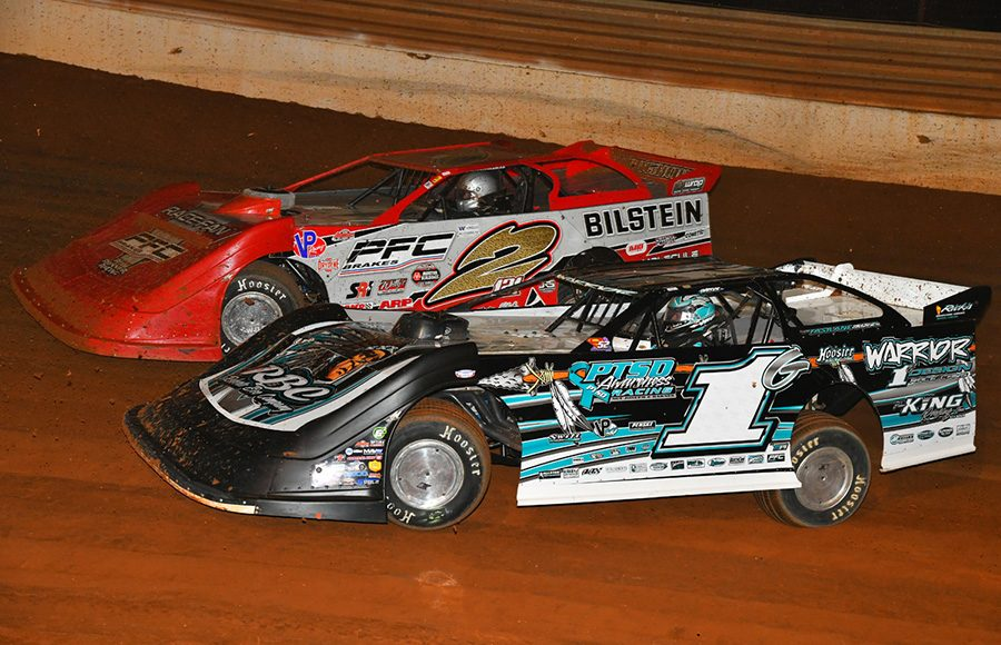 Ryan King (1G) and Pearson Lee Williams race for position during Friday's Schaeffer's Oil Iron-Man Championship Late Model Series event at Tazewell Speedway. (Michael Moats Photo)