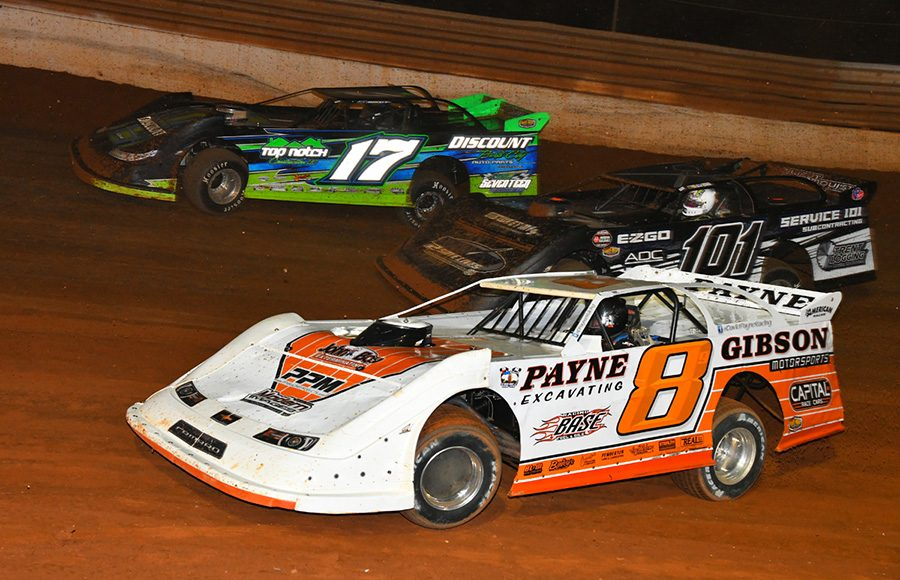 David Payne (8), Forrest Trent (101) and Brian Shockley race three-wide during Friday's Schaeffer's Oil Iron-Man Championship Late Model Series event at Tazewell Speedway. (Michael Moats Photo)