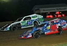 Mike McKinney (96) battles Will Krup at Brownstown Speedway. (Jim DenHamer photo)