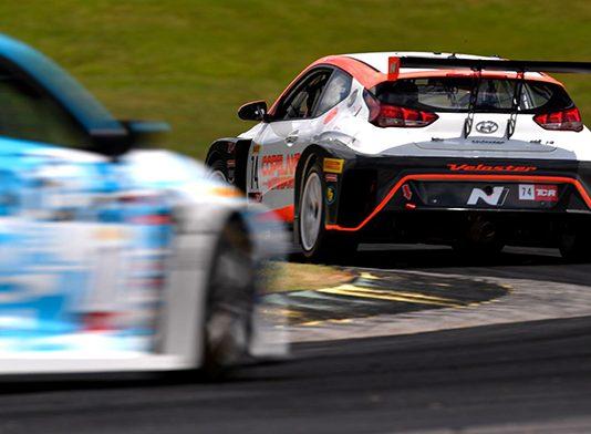 Tyler Maxson races ahead of the TC America field Friday at Virginia Int'l Raceway.