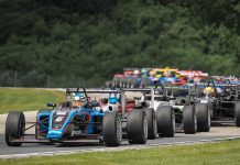 Christian Rasmussen (6) leads the field during USF2000 competition Friday at Road America.