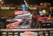 Mike Palasini Jr. in victory lane Friday at Greenville Speedway. (Millie Tanner Photo)