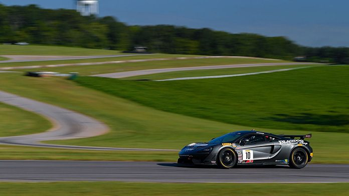 Michael Cooper raced to victory in Saturday's GT4 America Sprint race at Virginia Int'l Raceway.